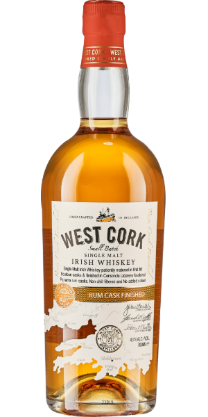 WHISKEY WEST CORK SMALL BATCH RUM CASK FINISH SINGLE MALT